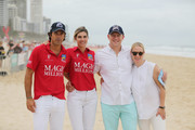 Zara and Mike Tindall pose with Nacho Figueras and Delfina Blaquier during the 2019 Magic Millions official draw at Surfers Paradise Foreshore on January 08, 2019 in Gold Coast, Australia.