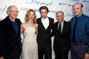 """(L-R) Director David Zellner, actors Mia Wasikowska, Robert Pattinson and Robert Forster and director Nathan Zellner attend Magnolia Pictures' """"Damsel"""" premiere at ArcLight Hollywood on June 13, 2018 in Hollywood, California."""