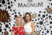 """Iris Mareike Steen and Janina Uhse attend the """"Magnum House of Play"""" photocall at Elisabethkirche on June 19, 2019 in Berlin, Germany."""