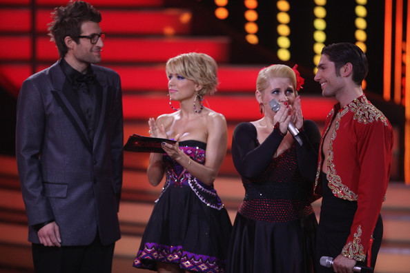 Maite Kelly (L-R) Daniel Hartwich, Sylvie van der Vaart, Maite Kelly and Christian Polanc perform during the 'Let's Dance' TV show at Coloneum on April 20, 2011 in Cologne, Germany.