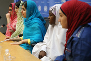 (L-R) Kainat Riaz, Shazia Ramzan, Malala Yousafzai, Amina Yusuf and Salam Masri speak at a press conference during the United Nations General Assembly at the United Nations on September 25, 2015 in New York City.