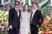 (L-R) Sam Riley, Angelina Jolie, and MIYAVI attend the Japan premiere of 'Maleficent: Mistress of Evil' on October 03, 2019 in Tokyo, Japan.