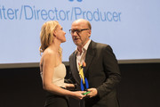 Screenwriter, producer and director of film and television Paul Haggis and Director of Evolution Mallorca International Film Festival Sandra Seeling Lipski attend the opening night of the Mallorca International Film Festival 2017 on October 26, 2017 in Palma de Mallorca, Spain.