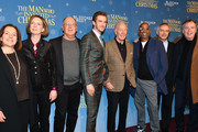 "(L-R) Executive director Paula Mazur, screenwriter Susan Coyne, producer Robert Mickelson, Dan Stevens, Christopher Plummer, director Bharat Nalluri, and producer Ian Sharples attend ""The Man Who Invented Christmas"" New York screening at Florence Gould Hall on November 12, 2017 in New York City."