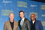 """(L-R) Christopher Plummer, Dan Stevens, and director Bharat Nalluri attend """"The Man Who Invented Christmas"""" New York screening at Florence Gould Hall on November 12, 2017 in New York City."""
