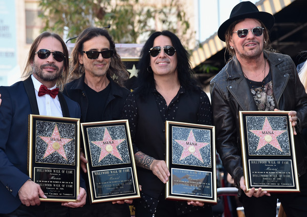 Mana Honored With Star On The Hollywood Walk Of Fame [mana honored with star on the hollywood walk of fame,event,art,eyewear,recreation,artist,glasses,fher olvera,juan calleros,alex gonzalez,sergio vallin,rock band,man\u00e3,hollywood walk of fame,mexican,ceremony]