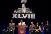 Brittney Payton (2ndR), Connie Payton (3rdR) and Jarrett Payton (R) look on as finalists Thomas Davis (2ndL) of the Carolina Panthers, Jay Feely (3rdL) of the Arizona Cardinals and Charles Tillman (L) of the Chicago Bears address the media during the Super Bowl XLVIII NFL Walter Payton Man of the Year Award press conference at the Rose Theater, Jazz at Lincoln Center on January 31, 2014 in New York City.