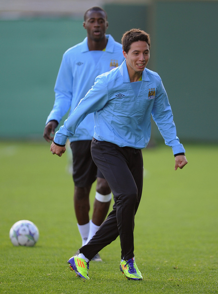 samir nasri in manchester city training press conference zimbio. Black Bedroom Furniture Sets. Home Design Ideas