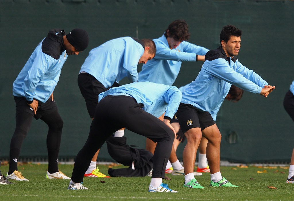 sergio aguero in manchester city training zimbio. Black Bedroom Furniture Sets. Home Design Ideas