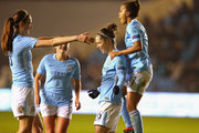 Jane Ross of Manchester City Women celebrates with Jill Scott and Nikita Parris after scoring the second goal during the UEFA Women's Champions League quarter final, first leg match between Manchester City Women and Linkoping at The Academy Stadium on March 21, 2018 in Manchester, England.