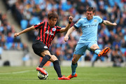 Suk-Young Yun of QPR is closed down by James Milner of Manchester City during the Barclays Premier League match between Manchester City and Queens Park Rangers at the Etihad Stadium on May 10, 2015 in Manchester, England.