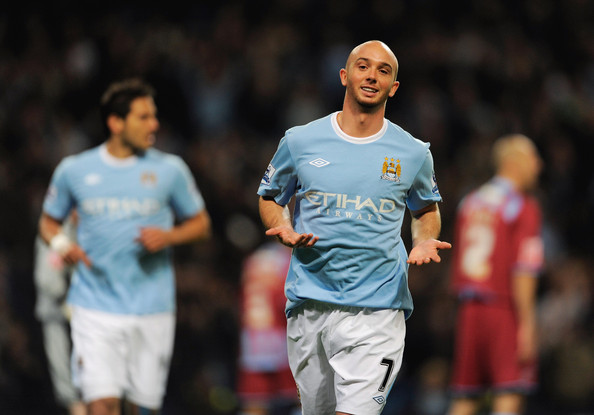 Stephen Ireland of Manchester City celebrates scoring the first goal during the Carling Cup 4th Round match at the City of Manchester Stadium on October 28, 2009 in Manchester, England.