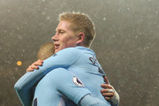 Kevin De Bruyne of Manchester City celebrates with David Silva of Manchester City during the Premier League match between Manchester City and Watford at Etihad Stadium on January 2, 2018 in Manchester, England.