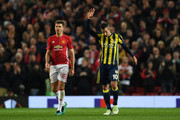 Robin van Persie of Fenerbahce acknowledges the crowd after scoring a goal during the UEFA Europa League Group A match between Manchester United FC and Fenerbahce SK at Old Trafford on October 20, 2016 in Manchester, England.