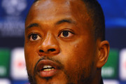 Patrice Evra of Manchester United speaks to the media during a press conference at Old Trafford on March 18, 2014 in Manchester, England.