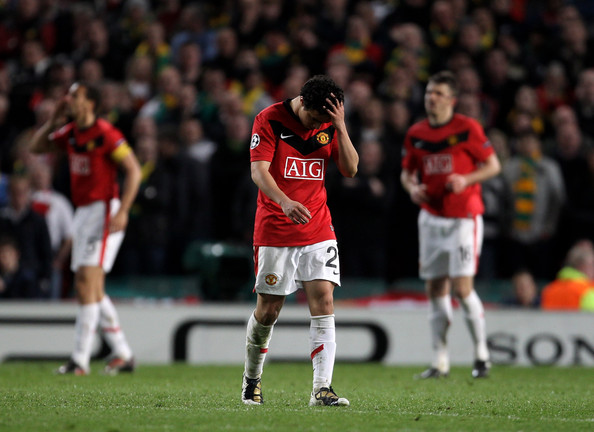 Rafael of Manchester United is sent off during the UEFA Champions League Quarter Final second leg match between Manchester United