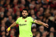 Barcelona striker Luis Suarez in action during the UEFA Champions League Quarter Final first leg match between Manchester United and FC Barcelona at Old Trafford on April 10, 2019 in Manchester, England.
