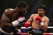 Manny Pacquiao (R) squares up with Adrien Broner during the WBA welterweight championship at MGM Grand Garden Arena on January 19, 2019 in Las Vegas, Nevada.
