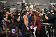 WBA welterweight champion Manny Pacquiao (L) and Adrien Broner face off during their official weigh-in at MGM Grand Garden Arena on January 18, 2019 in Las Vegas, Nevada. Pacquiao will defend his title against Broner on January 19 at MGM Grand Garden Arena in Las Vegas.
