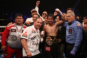 Manny Pacquiao celebrates after defeating Adrien Broner by unanimous decision during the WBA welterweight championship at MGM Grand Garden Arena on January 19, 2019 in Las Vegas, Nevada.