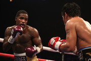 Adrien Broner (L) squares up with Manny Pacquiao during the WBA welterweight championship at MGM Grand Garden Arena on January 19, 2019 in Las Vegas, Nevada.