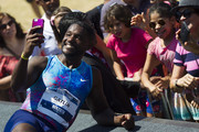 Justin Gatlin of the U.S. poses with fans after winning the Mano a Mano Athletics Challenge at the Brazilian Jockey Club on October 01, 2017 in Rio de Janeiro, Brazil.