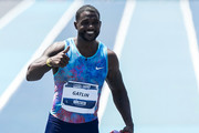 Justin Gatlin of the U.S. gestures after winning the Mano a Mano Athletics Challenge at the Brazilian Jockey Club on October 01, 2017 in Rio de Janeiro, Brazil.
