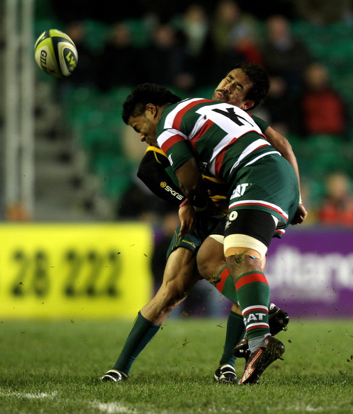 Leicester Centre Manu Tuilagi Is Tackled: Leicester Tigers V Australia
