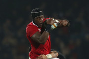 Maro Itoje of the Lions is tackled by Liam Messam of the Maori All Blacks during the 2017 British & Irish Lions tour match between the Maori All Blacks and the British & Irish Lions at the Rotorua International Stadium on June 17, 2017 in Rotorua, New Zealand.
