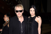 Nick Rhodes and Nefer Suvio pose backstage at the Marc Jacobs fashion show during Mercedes-Benz Fashion Week Spring 2015 at Park Avenue Armory on September 11, 2014 in New York City.