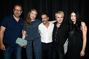 (L-R) John Currin, Rachel Feinstein, designer Marc Jacobs, Nick Rhodes and Nefer Suvio backstage at the Marc Jacobs fashion show during Mercedes-Benz Fashion Week Spring 2015 at Park Avenue Armory on September 11, 2014 in New York City.
