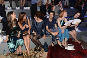 (L-R) Winona Ryder, Christina Ricci, Parker Posey, guest, Deborah Ann Woll and Michelle Dockery attend the Marc Jacobs Spring 2014 fashion show at The New York State Armory, 68 Lexington on September 12, 2013 in New York City.