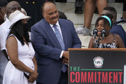 """Yolanda Renee King, granddaughter of Martin Luther King Jr., speaks alongside her parents Arndrea Waters King and Martin Luther King III during the March on Washington at the Lincoln Memorial August 28, 2020 in Washington, DC.  Today marks the 57th anniversary of Rev. Martin Luther King Jr.'s """"I Have A Dream"""" speech at the same location."""