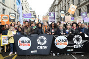 Camilla Thurlow, Nicola Coughlan, Raye, George MacKay, Emeli Sande, Natalie Dormer, Sandi Toksvig, Bianca Jagger, Sadiq Khan, during the #March4Women 2020 rally at Southbank Centre on March 08, 2020 in London, England. The event is to mark International Women's Day.