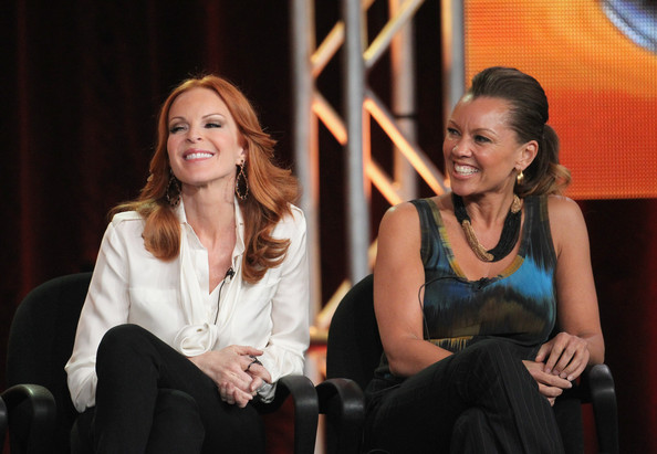 Marcia Cross Actresses Marcia Cross (L) and Vanessa Williams speak during the 'Desperate Housewives' panel during the ABC portion of the 2012 Winter TCA Tour held at The Langham Huntington Hotel and Spa on January 10, 2012 in Pasadena, California.