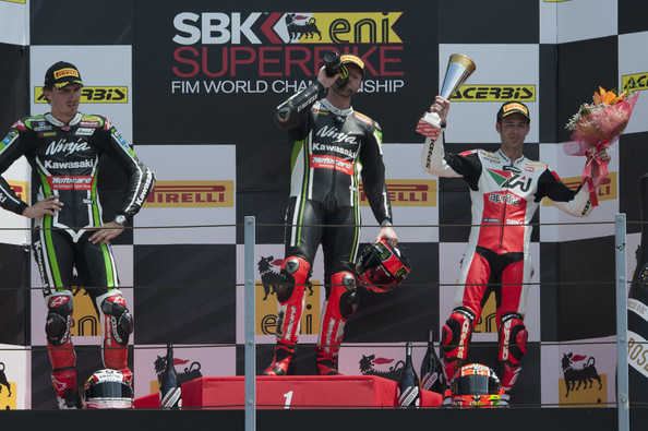 FIM Superbike World Championship - Race [technology,electronic device,stage equipment,podium,motorsport,competition,heater,racing,championship,loris baz,race,l-r,podium,italy,france,kawasaki racing team,aprilia racing team,fim superbike world championship,end]