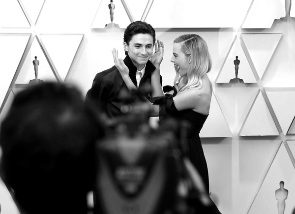 92nd Annual Academy Awards - Arrivals [image,photograph,facial expression,black-and-white,monochrome,monochrome photography,photography,fun,smile,event,formal wear,arrivals,chalamet,margot robbie,color version,l-r,hollywood,highland,california,92nd annual academy awards,timoth\u00e9e chalamet,harley quinn: birds of prey,actor,photograph,photography,image,oyster,stock photography,getty images]
