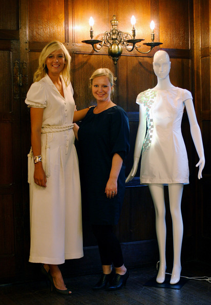 Tina Lekeberg the Colour and Material Designer at Sony Ericcson poses for a picture with the winning design and Maria Sharapova at Liberty at the announcement of the winners of the Sony Ericsson Design Competition on June 17, 2009 in London, England.