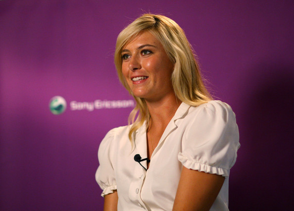 Maria Sharapova, international tennis star and global brand ambassador for Sony Ericsson, does an interview at Liberty store as she unveils winning designs from students at the London College of Fashion on June 17, 2009 in London, England.