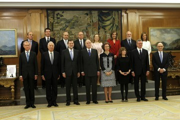 Jose Manuel Garcia Margallo Luis de Guindos Mariano Rajoy Presents New Ministerial Team