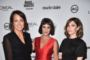 Editor-in-Chief, Marie Claire, Anne Fulenwider, makeup artist Jenn Streicher and actress Carrie Brownstein attend the inaugural Image Maker Awards hosted by Marie Claire at Chateau Marmont on January 12, 2016 in Los Angeles, California.