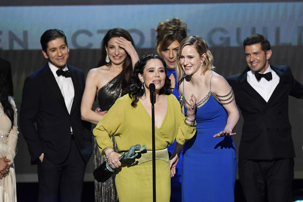 26th Annual Screen Actors Guild Awards - Inside [comedy series,event,yellow,formal wear,suit,award,smile,performance,white-collar worker,tuxedo,ensemble,michael zegen,marin hinkle,joel johnstone,caroline aaron,rachel brosnahan,screen actors guild awards,l-r,outstanding performance,tony shalhoub,caroline aaron,rachel brosnahan,marin hinkle,the marvelous mrs. maisel,joel johnstone,brian tarantina,screen actors guild awards,actor,2020]
