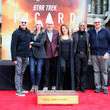 Marina Sirtis Sir Patrick Stewart Places His Handprints And Footprints In Cement At TCL Chinese Theatre IMAX