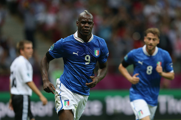 Mario Balotelli Mario Balotelli of Italy celebrates scoring the opening goal during the UEFA EURO 2012 semi final match between Germany and Italy at the National Stadium on June 28, 2012 in Warsaw, Poland.