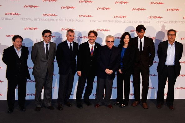 La dolce vita - Photocall: The 5th International Rome Film Festival [la dolce vita,suit,event,team,businessperson,formal wear,white-collar worker,company,management,premiere,enrico magrelli,patrizio di marco and mario sesti,martin scorsese,margaret bodde,antonio monda,gian luca farinelli,l-r,rome,photocall: the 5th international rome film festival]
