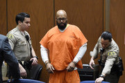 """Marion """"Suge"""" Knight appears at Clara Shortridge Foltz Criminal Justice Center March 9, 2015 in Los Angeles, California.  The hearing was scheduled to determine if the two criminal cases against Knight, one for murder and attempted murder when Knight allegedly ran over two men in a Compton parking lot after an argument and another case involving an alleged robbery and criminal threats to a photographer in Beverly Hills, should be moved to the downtown Los Angeles courthouse."""