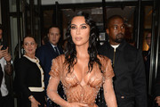 Kim Kardashian and Kayne West depart The Mark Hotel for the 2019 'Camp: Notes on Fashion' Met Gala on May 06, 2019 in New York City.
