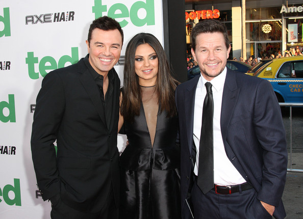 Racy in red Mila Kunis and Mark Wahlberg get flirty on date night (but ...