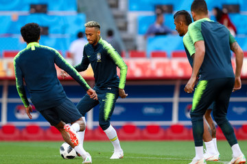 Marquinhos Brazil Training and Press Conference - FIFA World Cup Russia 2018