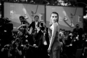 "This image has been converted in black and white) Scarlett Johansson walks the red carpet ahead of the ""Marriage Story"" screening during during the 76th Venice Film Festival at Sala Grande on August 29, 2019 in Venice, Italy."